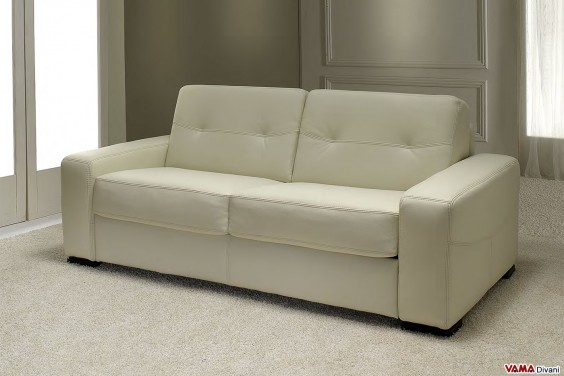 Sofa Bed in cream grain leather with squared arm