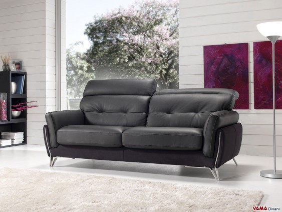 Sofa in black leather with manual reclining headrests