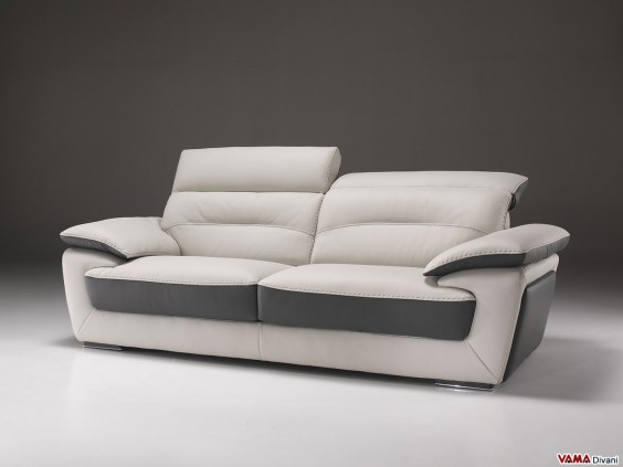 Sofa in cream and grey leather with reclining headrests