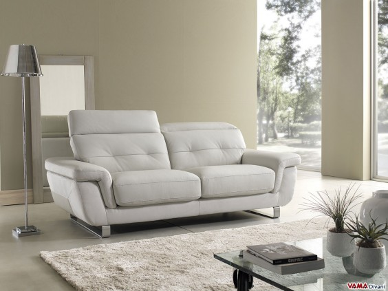 Sofa in white leather with reclining headrests