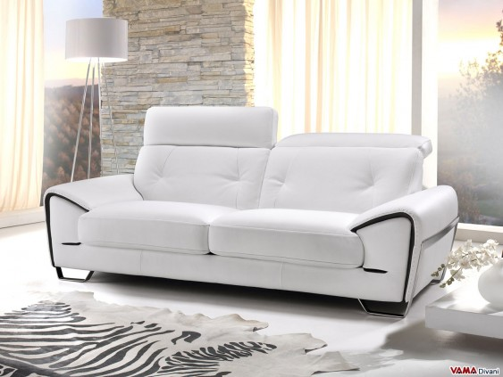 White sofa with reclining headrests and stainless steel feet