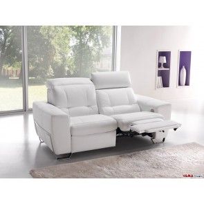 2 Seater Reclining Sofa In White Leather