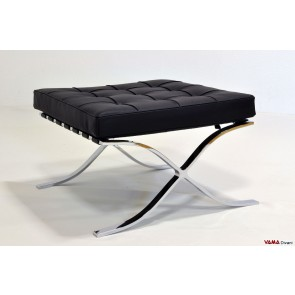 Barcellona footstool in black grain leather and leather straps