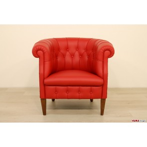 Classic little armchair in red leather