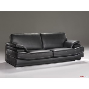 Black grain leather sofa with steel feet