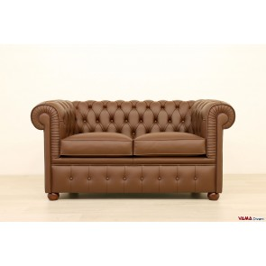 Chesterfield sofa 2 seater chocolate brown leather
