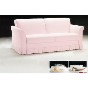 Classic Double Sofa Bed in light pink fabric