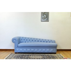Classic leather chaise longue