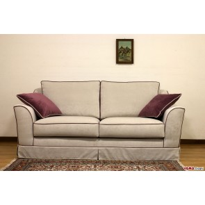 classic sofa in gray fabric with red cord