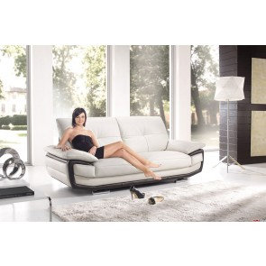 Contemporary 2 seater sofa in white and brown leather