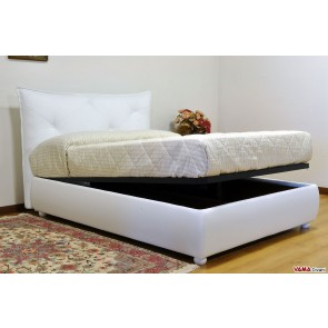 Contemporary bed in white leather with storage box