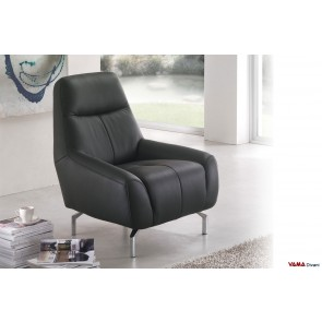 Contemporary black leather armchair with metal tall feet