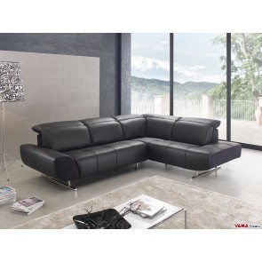 Contemporary black leather corner sofa with chromed steel feet