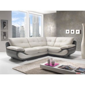 Contemporary corner leather sofa in white and grey