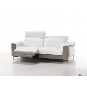 Contemporary electric reclining sofa in white leather
