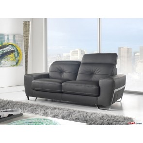 Contemporary sofa in black leather with reclining headrests