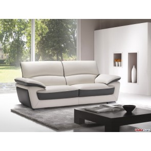 Contemporary sofa in cream and brown leather with high back