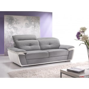 Contemporary sofa in grey microfibre with reclining headrests