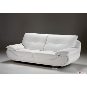Contemporary sofa in white leather with high back