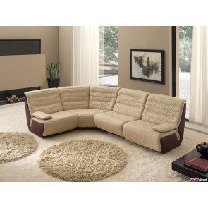 Corner Sofa without arms in dove grey leather