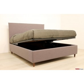 Double bed with storage simple gray fabric