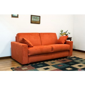 Double sofa bed in orange microfibre with removable cover