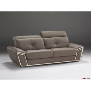 Dove grey leather sofa with headrests