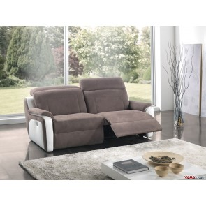 Electric reclining sofa with headrests and footrests