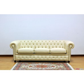English cream grain leather sofa