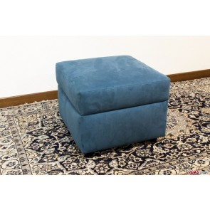 Fabric footstool with storage box in blue microfibre