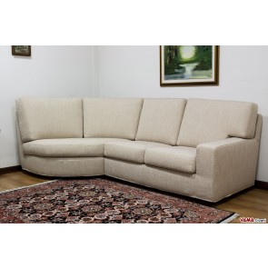 Fabric sofa with rounded corner