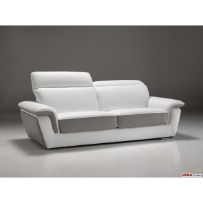 High quality leather sofa in white and grey colours