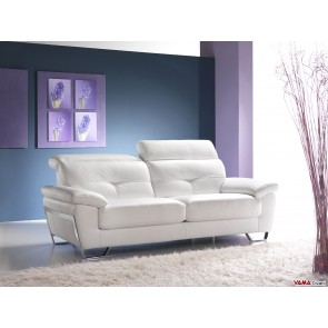 Leather sofa with reclining headrests and steel finishing