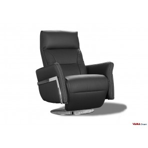 Manual reclining armchair in black leather