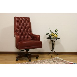 Office armchair with wooden swivel red leather vintage