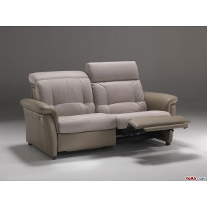 Reclining 3 seater sofa in leather and fabric
