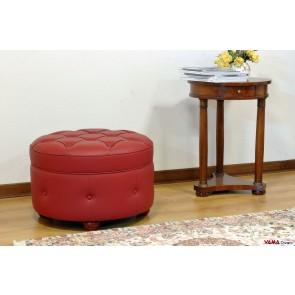 Round footstool in red leather with buttoned details