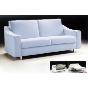 Sky Blue Fabric Double Sofa Bed