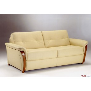 Sofa bed in leather with wooden arm