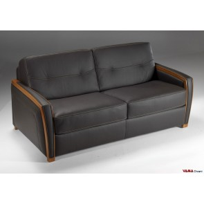 Sofa bed with wood trimmed arm