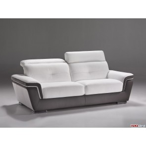 Sofa in white and brown leather with reclining headrests