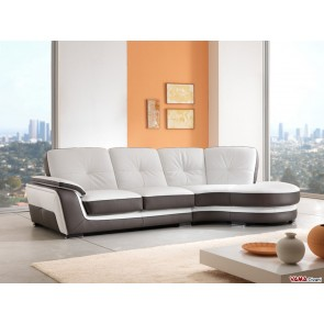 Sofa with shaped angle in white and dove grey leather