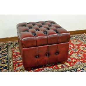 Storage red footstool with buttoned details