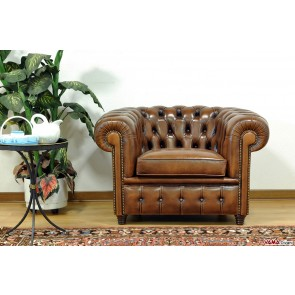 Vintage Chester armchair in aged leather