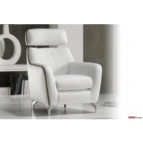 White leather armchair with headrest and metal tall feet