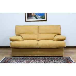 Yellow microfibre sofa upholstered in goose down
