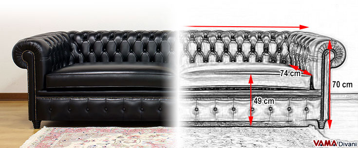 Black Huge Chesterfield Sofa