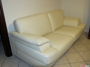 Contemporary white sofa in leather upholstery