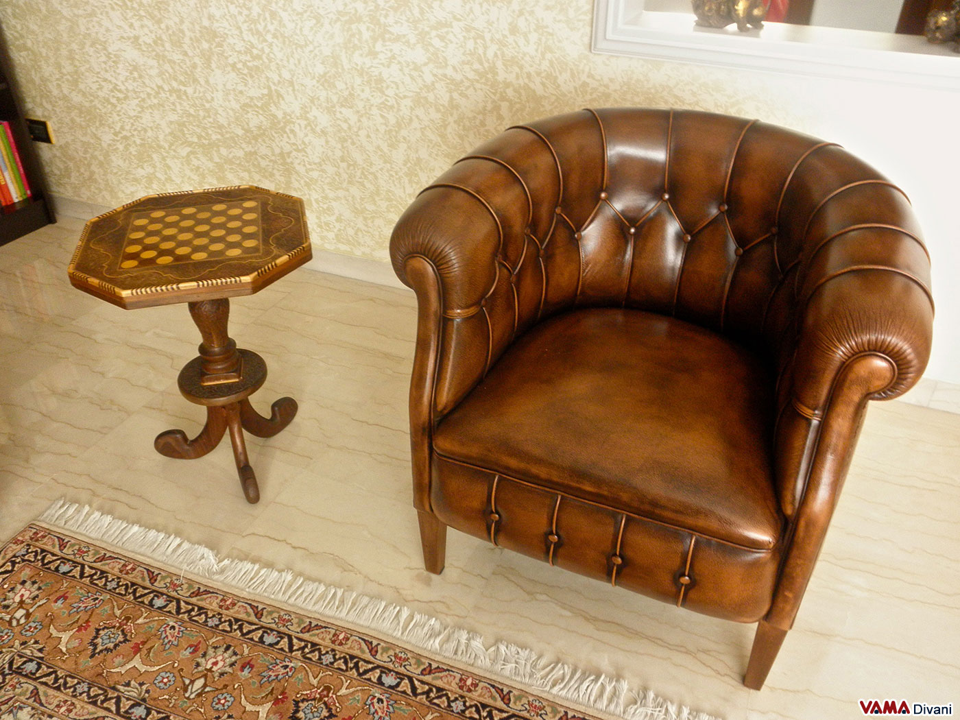 two armchairs Chesterfield brown Leather